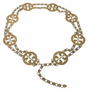 Tory Burch gold-tone Reva logo chain belt (EUC)